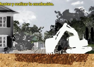 2. Acotar y realizar la excavación.