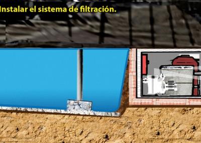 6. Instalar el sistema de filtración.